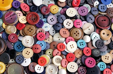 Collection of buttons of different colors and sizes