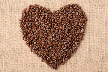Heart of coffee on sacking