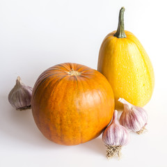 Two pumpkins, orange and yellow, and garlic