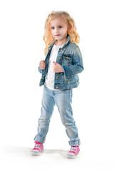 Girl has dressed a denim jacket