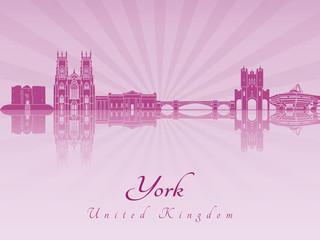 York skyline in purple radiant orchid