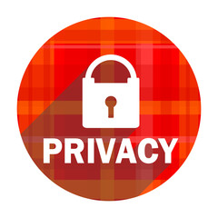 privacy red flat icon isolated