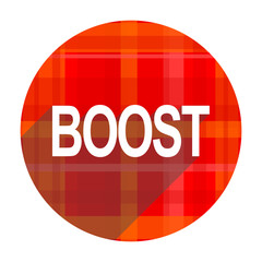 boost red flat icon isolated