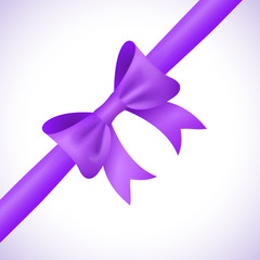 Big shiny purple bow and ribbon on white background. Vector