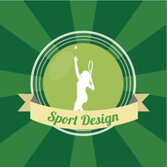 silhouette of tennis player over green color background