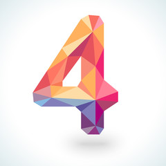 Number four in modern polygonal crystal style. Vector
