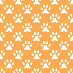 Animal seamless vector pattern of paw footprint and dot