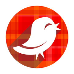 twitter red flat icon isolated