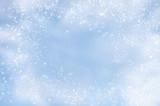 Fototapety Falling snowflakes on  blue background