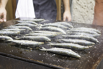 Grilled Sardines cooking