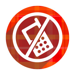 no phone red flat icon isolated