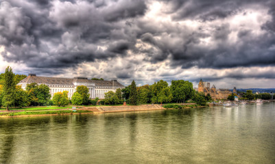 Panorama of The Rhine in Koblenz, Germany