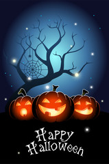 Illustration of three Jack O`Lanterns