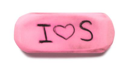 Pink Rubber Eraser on White