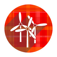 windmill red flat icon isolated