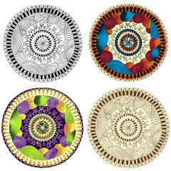 Set of ethnic design circle elements.