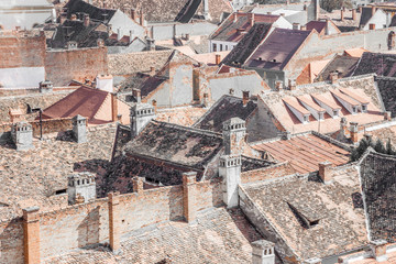 Top view of old european buildings