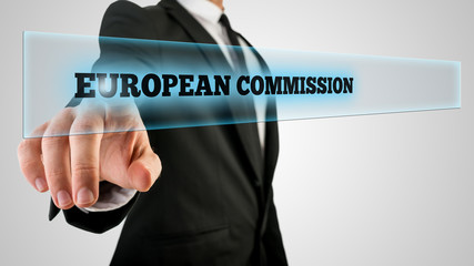 Businessman Pointing Glowing European Commission