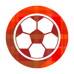 soccer red flat icon isolated