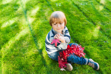 Cute toddler boy playing with red maple leaves