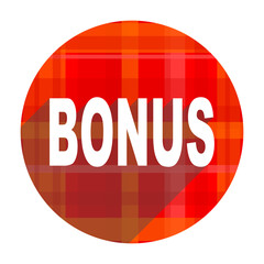 bonus red flat icon isolated