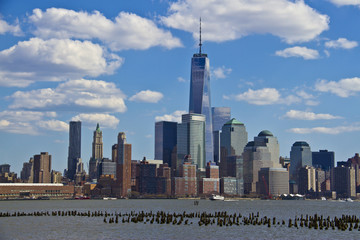 view of lower Manhattan skyline from Jersey City