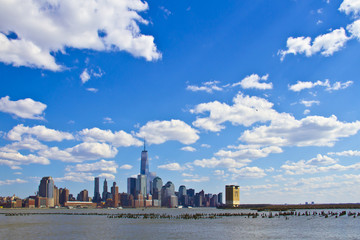 view of lower Manhattan in front of beautiful sky