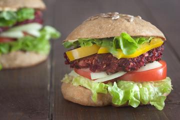 grilled beet burger in whole grain bun