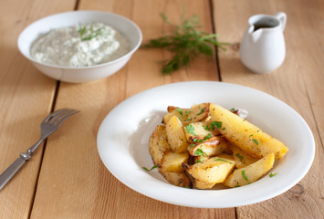 greek potatotes, tzatziki and lemon vinaigrette