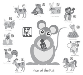 Chinese New Year Rat with Twelve Zodiacs Illustration