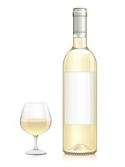 Bouteille et verre de vin blanc sec
