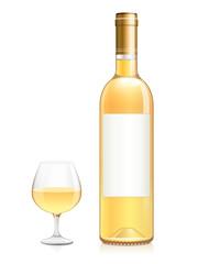Bouteille et verre de vin blanc moelleux
