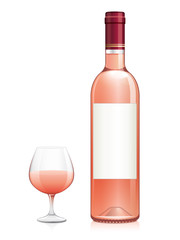 Bouteille et verre de vin rosé