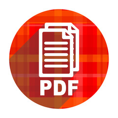 pdf red flat icon isolated,