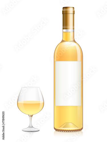 bouteille et verre de vin blanc moelleux fichier vectoriel libre de droits sur la banque d. Black Bedroom Furniture Sets. Home Design Ideas