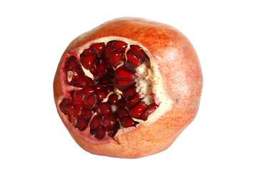 Cracked pomegranate fruit isolated on white background