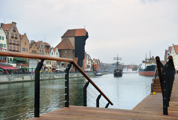 Old town embankment on Motlawa river , Gdansk, Poland