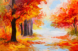 Fototapety Oil painting landscape - colorful autumn forest