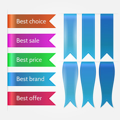 Vector illustration of set of sale ribbons