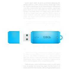 Vector illustration of blue USB flash drive