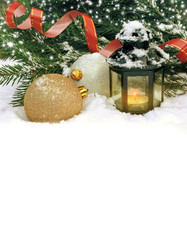Christmas card with golden balls and a flashlight