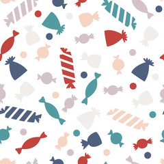 Seamless pattern with colorful candy for Halloween party