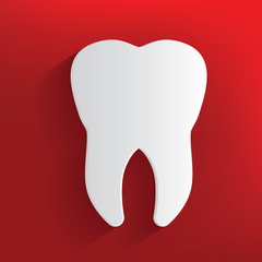 Tooth symbol on red background,clean vector