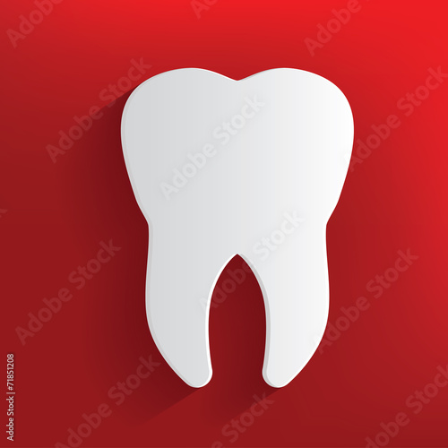 Tooth symbol on red background,clean vector - 71851208