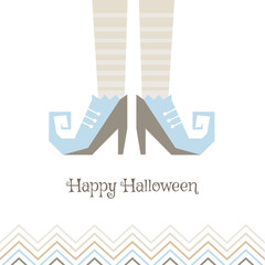 Vector card for Halloween. Witches' shoes