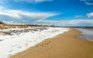 Baltic sea coastline in Riga, Latvia