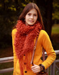 canvas print picture - woman on bridge in autumn park