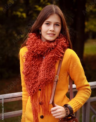canvas print picture woman on bridge in autumn park