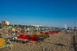 canvas print picture - Rimini Strand in den Morgenstunden