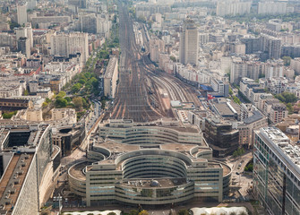 Aerial view of railway station, Paris